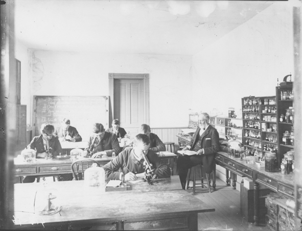Dr. Beal with class,date unknown