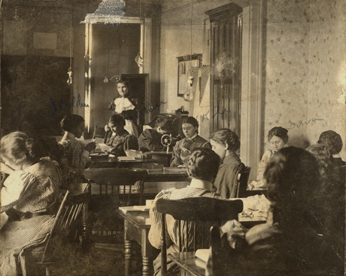 Co-ed sewing class, 1896