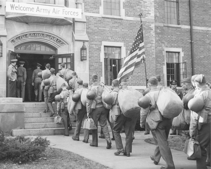 Army students enter Abbot Hall, 1943