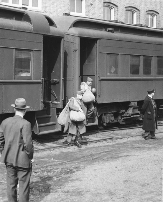 Army trainees at the train station, ca. 1940