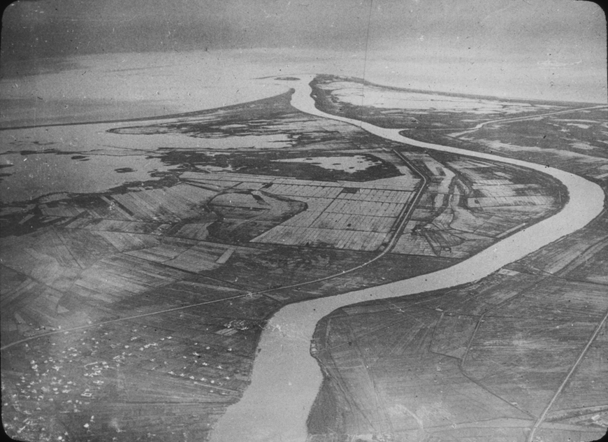 Aerial view of Spanish river and agriculture, undated