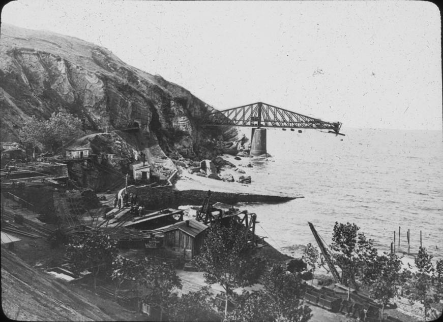 Suspension bridge under construction in the Basque Country, undated