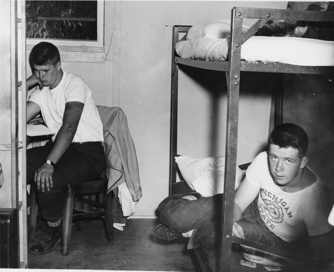 Male students room together in Quonsets, 1946