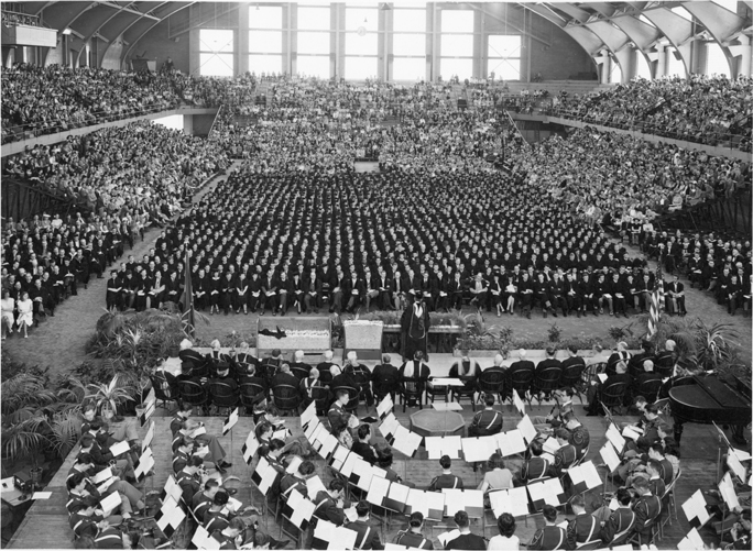 A speaker lectures at commencement, 1947