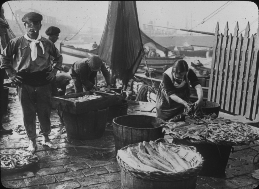 Urban dock scene with workers and fish, undated