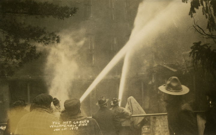 Extinguishing the Williams Hall fire, 1919