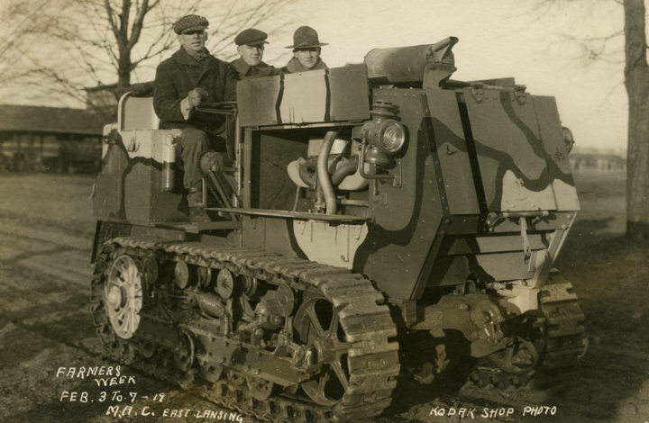 Three Men on a Tractor, 1919