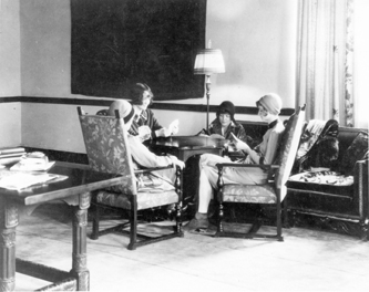 Students playing cards, circa 1930s