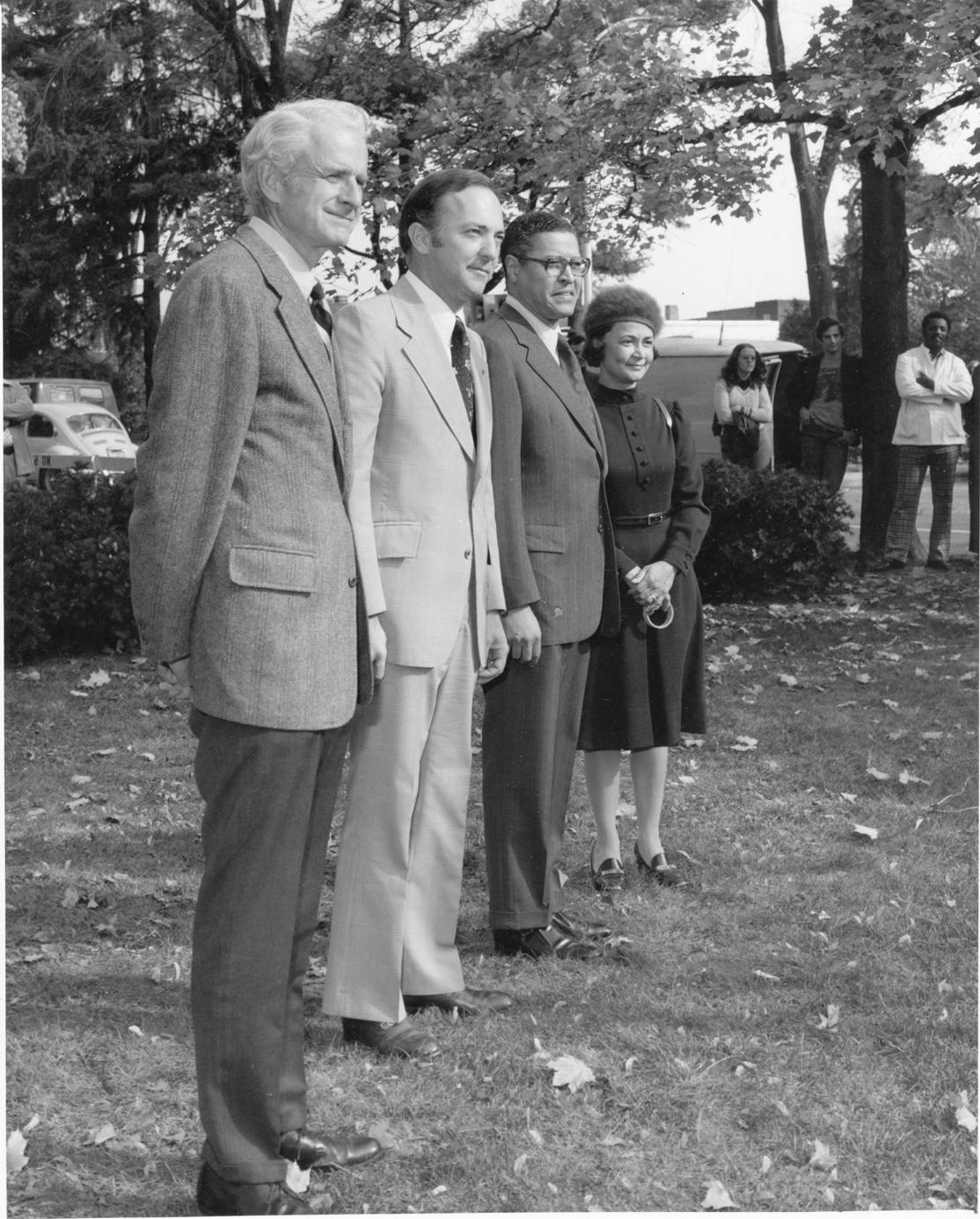MSU dignitaries watch a flag presentation, 1975