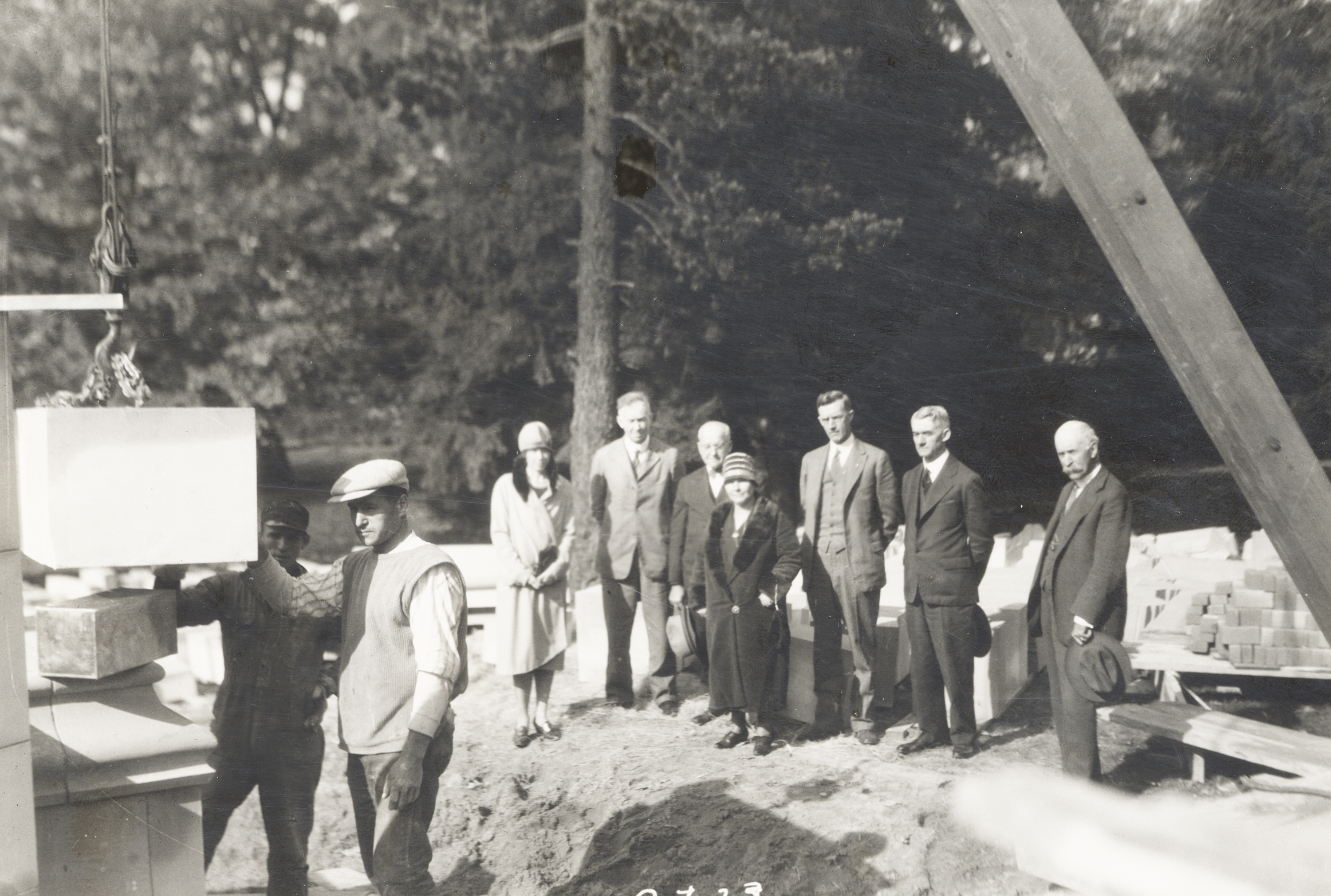 Laying the cornerstone of Beaumont Tower, 1928
