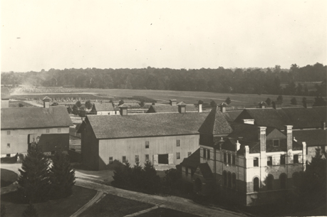 An aerial view of the Vet Lab and barns, date unknown