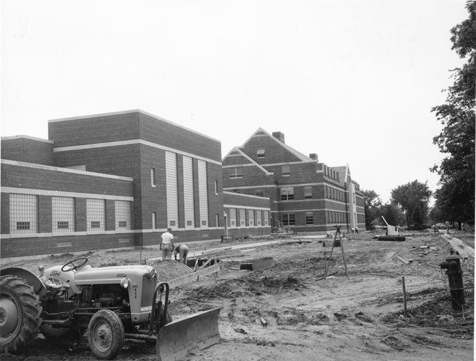 Anthony Hall during construction, 1956