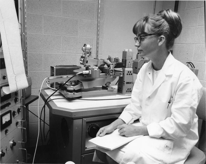 Marsha Marshall works on a canine leukemia project,date unknown