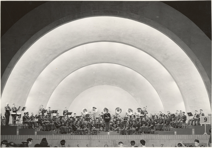 Director Falcone with MSU band, 1941