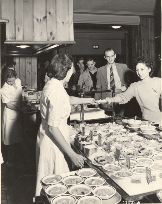 Serving food at the Union Cafeteria, 1941