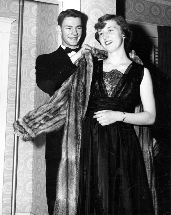 A couple at a formal dance, 1950