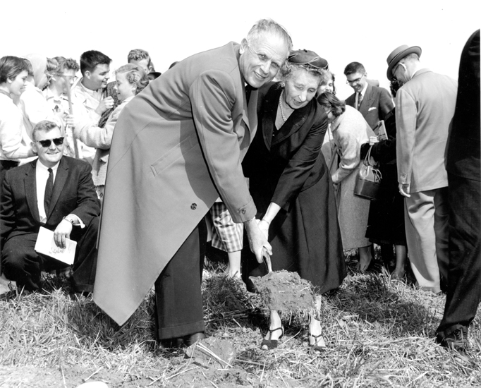 Hannah at the groundbreaking of Oakland University, 1958