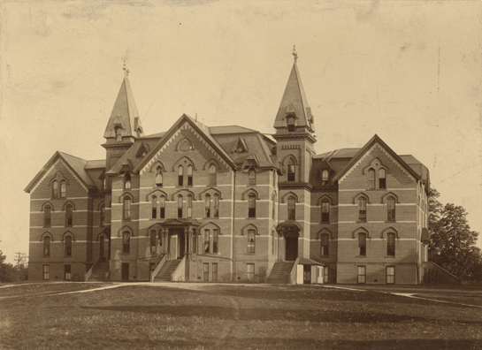 Front view of the original Wells Hall, date unknown