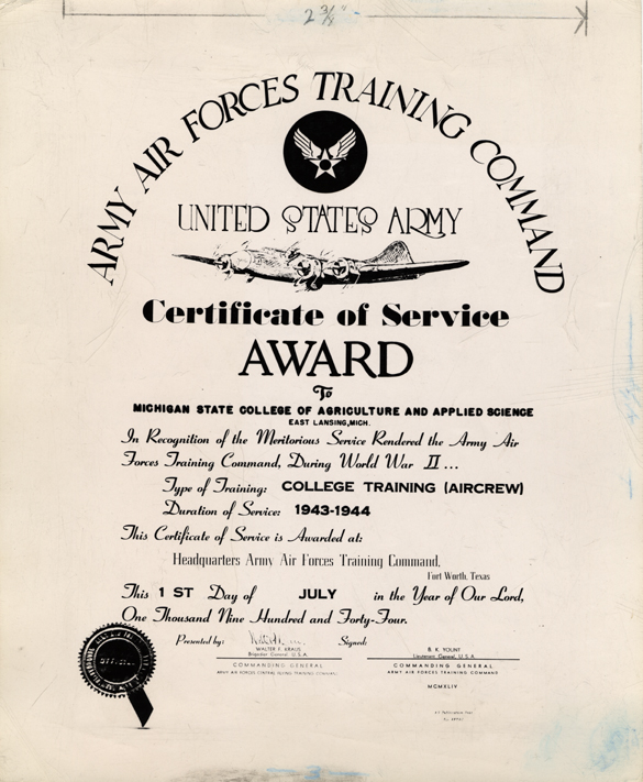 A copy of an award given for MSC Aircrew Training participation, 1943