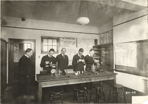 Agriculture students in a lab, circa 1918