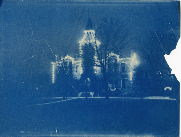 Linton Hall decorated with lights, date unknown