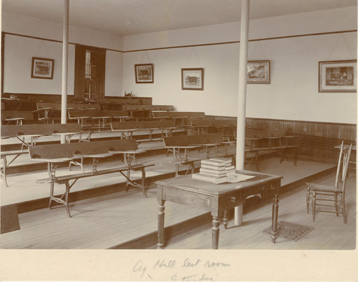 A lecture hall inside Cook Hall, 1896