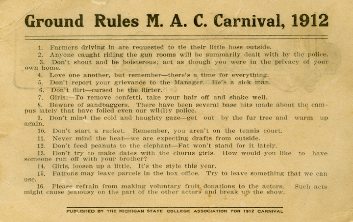 M.A.C. Carnival Ground Rules, 1912