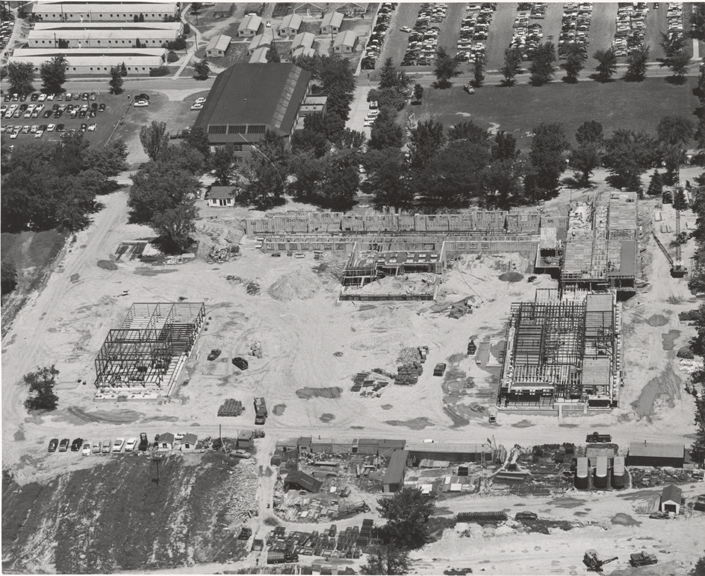 Aerial view of Anthony Hall construction, 1955