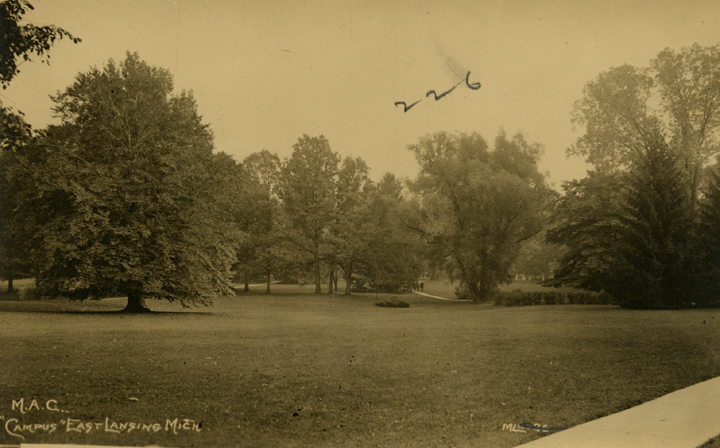 A field on campus, date unknown