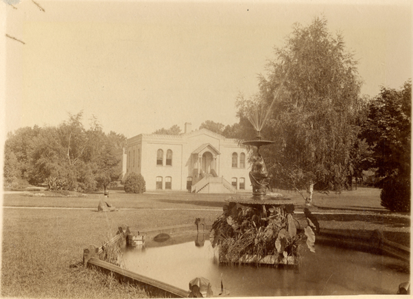 Chemical Laboratory and a fountain, date unknown