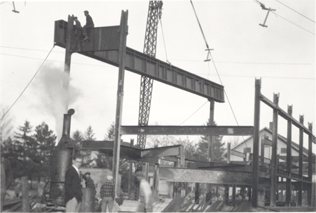 Building the frame of Kedzie Hall, date unknown