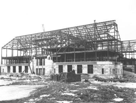 Kedzie Hall undergoing construction, 1927