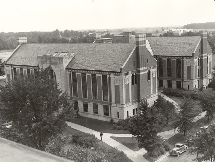 Aerial view of Kedzie Hall, date unknown