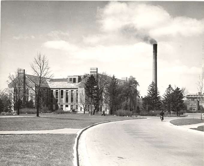 Kedzie Hall with MSC smokestack, date unknown
