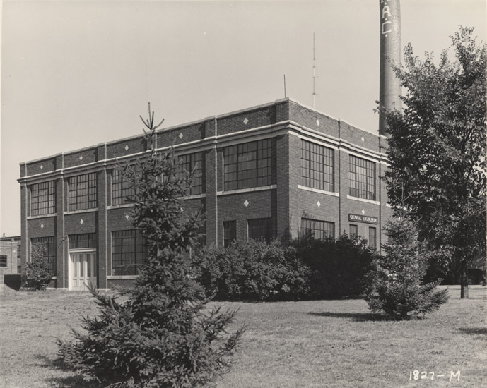 A view of the Engineering shop with the MAC stack, date unknown