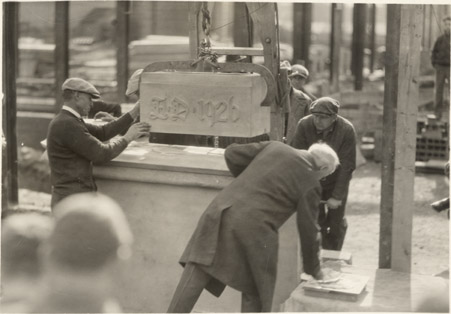 Laying the cornerstone of Kedzie Hall, 1926