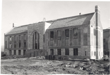 Front view of Kedzie Hall under construction, 1927
