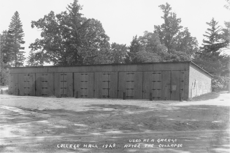Garage that sits on College Hall's foundation, 1928