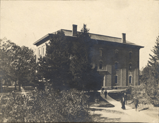 Students at College Hall, date unknown