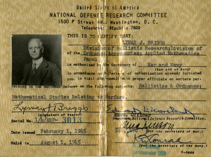 Lyman Briggs National Defense I.D.