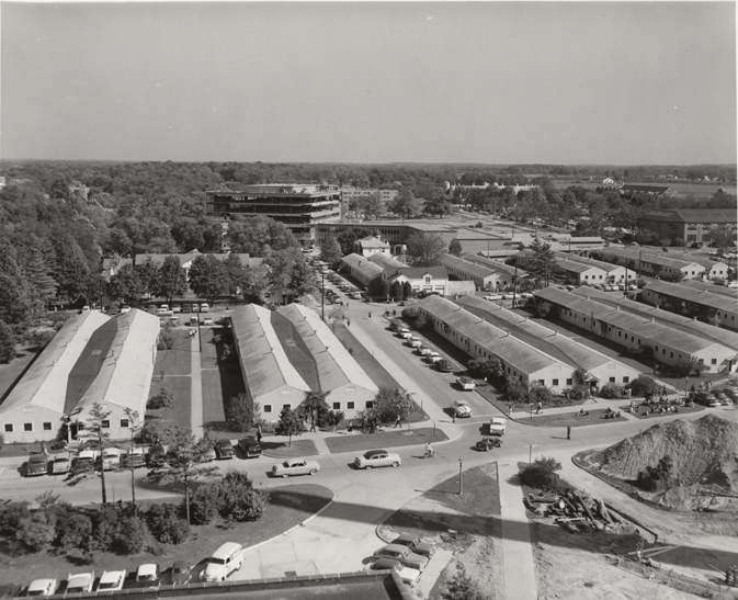 An aerial view of the Mead Building, 1957