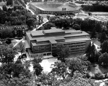 An aerial view of the Main Library, date unknown
