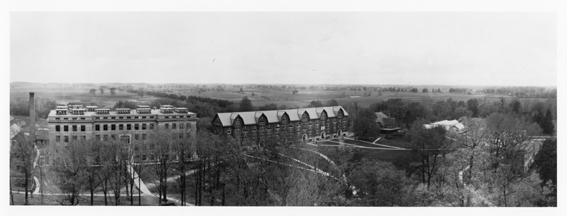 A panoramic view of campus, 1915 ca.