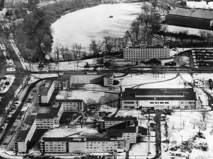 An aerial view of construction on Brody Complex, 1955