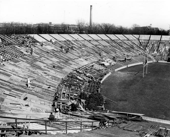 Construction of Macklin Field stadium, 1948