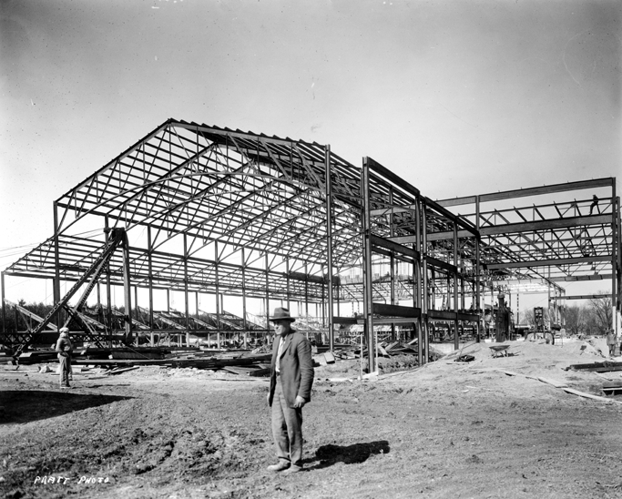 Construction of Demonstration Hall, date unknown