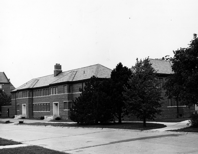 A side view of the Home Management House, 1948