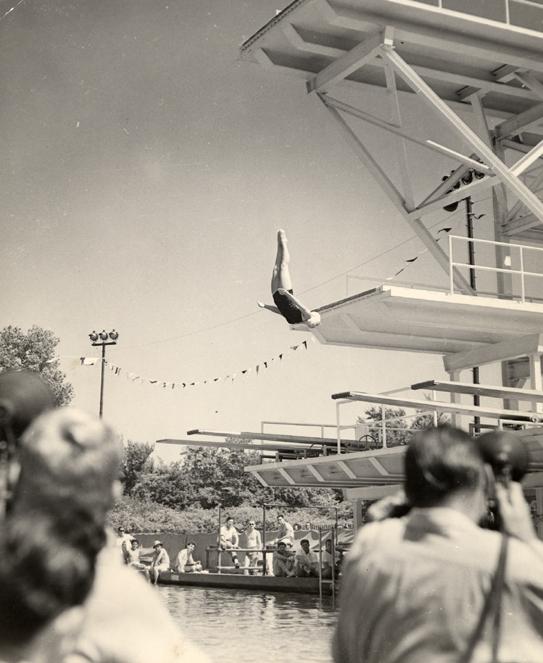 A Green Splash member dives, date unknown