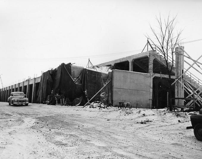 Macklin Field construction, 1948