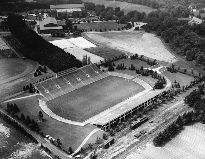 Aerial photo of Spartan Stadium, 1947